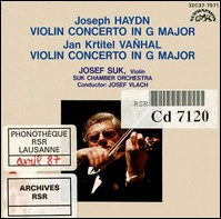 "Haydn, Vanhal ""Violin Concertos in G Major"""